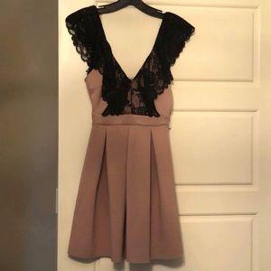 Petite Mini Dress with Black Lace